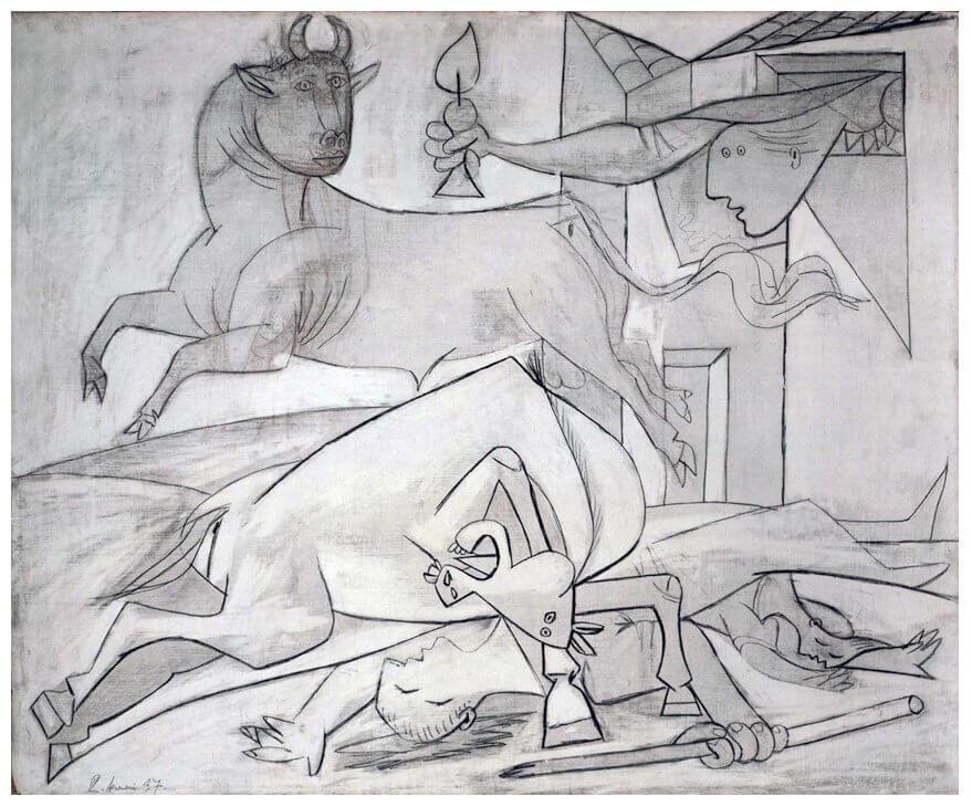 """10. Estudio para """"Guernica"""". 2 de mayo de 1937. 600×730 mm. Grafito sobre madera contrachapada, preparada con blanco de bario."""