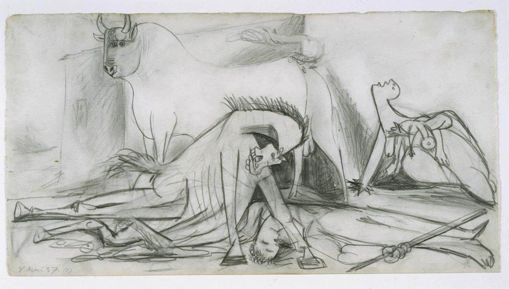 Guernica de Picasso,  2: Los dibujos preparatorios 1