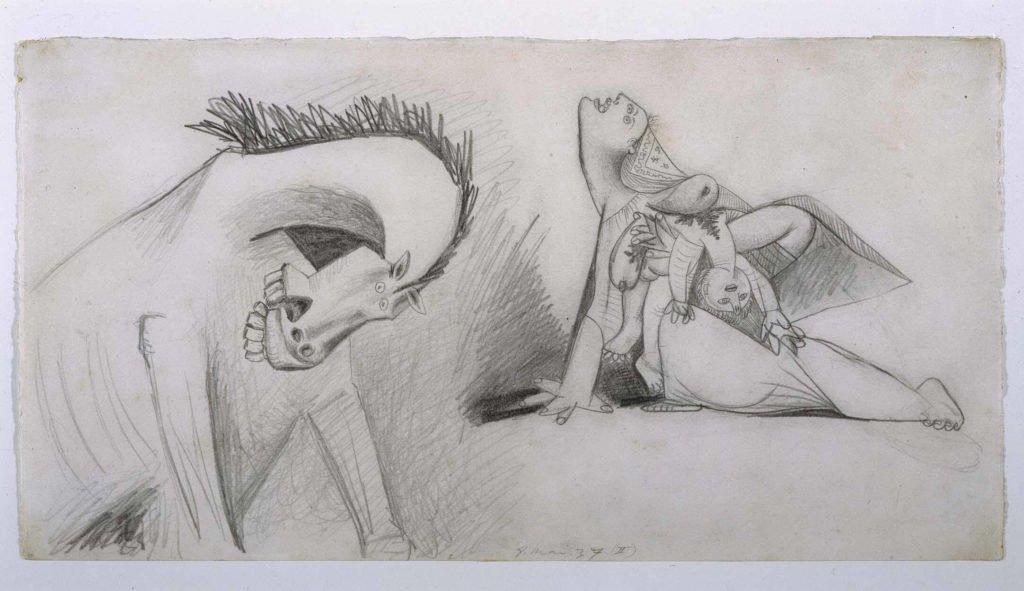 13. Caballo y madre con niño muerto. 8 de mayo de 1937. 240×455 mm. Grafito sobre papel blanco.