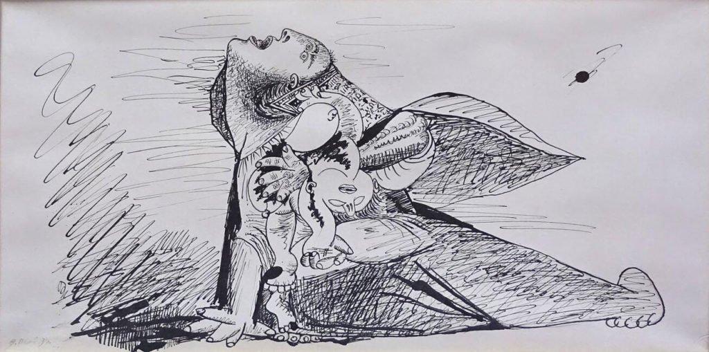 14. Madre con niño muerto. 9 de mayo de 1937. 240×453 mm. Grafito y tinta con pluma sobre papel blanco.