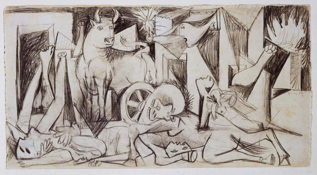 "12. Estudio para ""Guernica. 8 de mayo de 1937. 241×457 mm. Grafito sobre papel blanco."