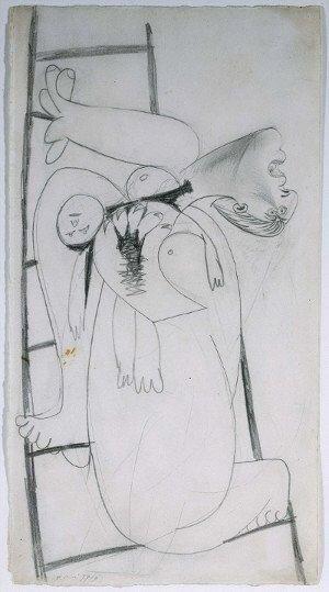 16. Madre con niño muerto en escalera. 9 de mayo de 1937. 453×240 mm. Grafito sobre papel blanco.