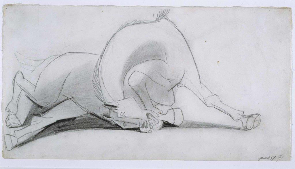 17. Estudio para el caballo. 10 de mayo de 1937. 241×456 mm. Grafito sobre papel blanco.
