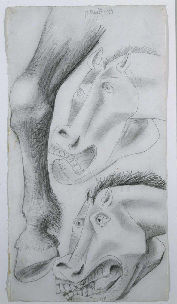 18. Estudio para el caballo. 10 de mayo de 1937. 454×243 mm. Grafito sobre papel blanco.