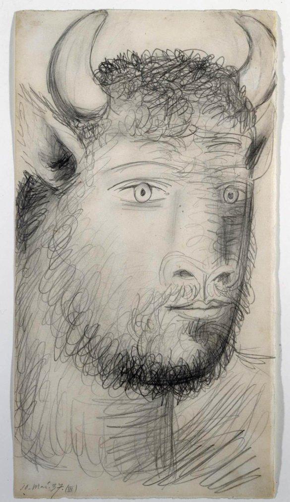 19. Cabeza de toro con rostro humano. 10 de mayo de 1937. 454×239 mm. Grafito sobre papel blanco.