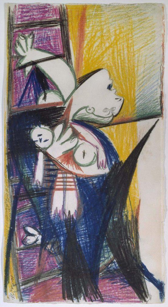 21. Madre con niño muerto en escalera. 10 de mayo de 1937. 457×244 mm. Grafito y barra de color sobre papel blanco.