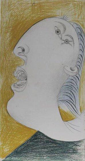 23. Cabeza de mujer. 13 de mayo de 1937. 454×240 mm. Grafito y barra de color sobre papel blanco.