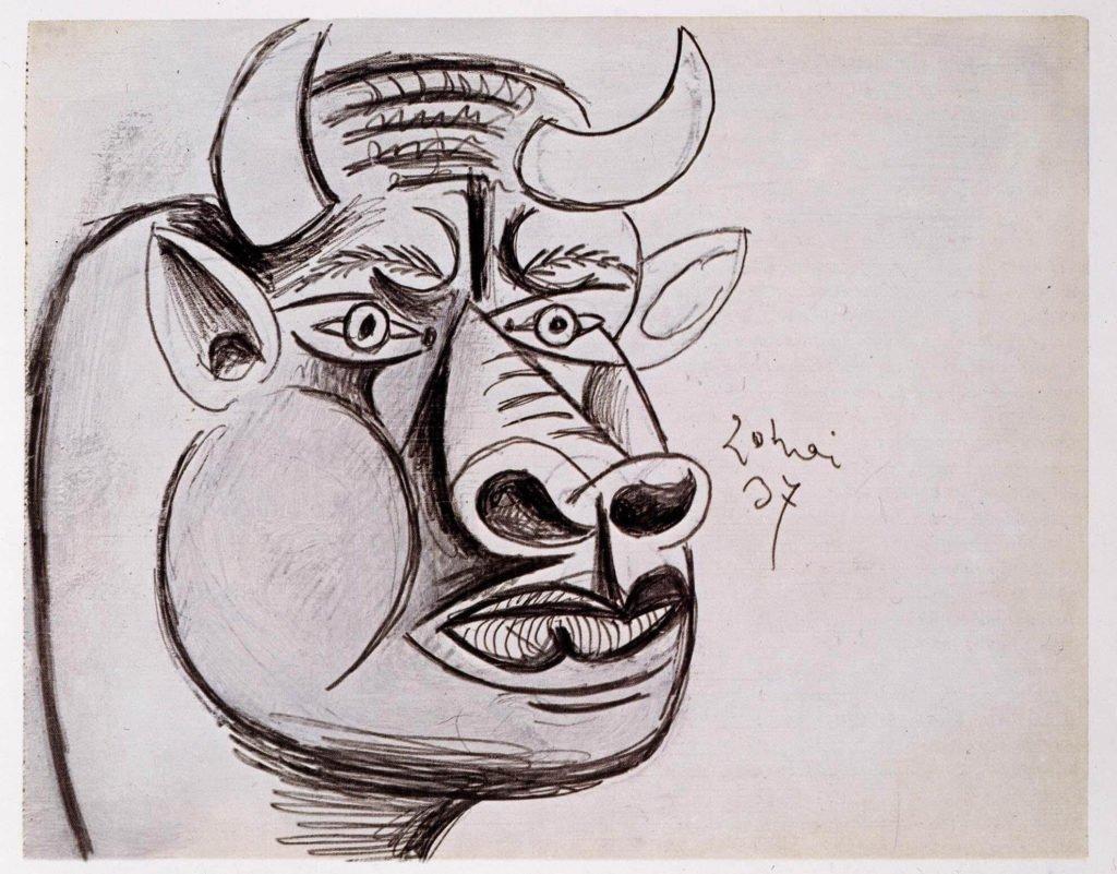 26. Estudio para la cabeza del toro. 20 de mayo de 1937. 231×292 mm. Grafito y gouache sobre papel tela.