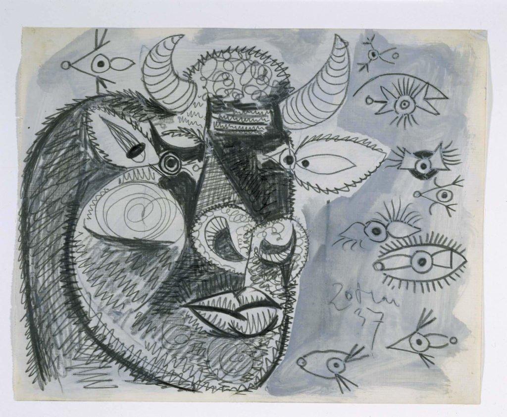 27. Cabeza del toro con estudios de ojos. 20 de mayo de 1937. 232×292 mm. Grafito y gouache sobre papel tela.
