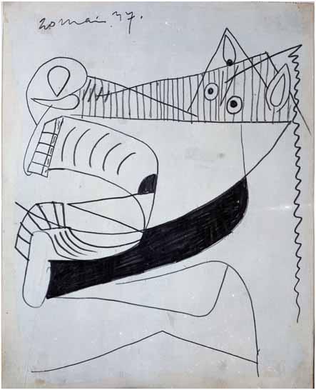 obras de picasso 28. Cabeza del caballo. 20 de mayo de 1937. 290×231 mm. Grafito y gouache sobre papel tela.