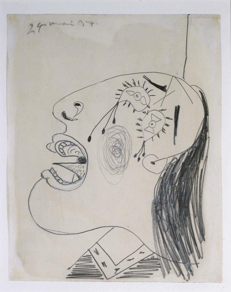 31. Estudio de cabeza llorando. 24 de mayo de 1937. 292×231 mm. Grafito y gouache sobre papel tela.
