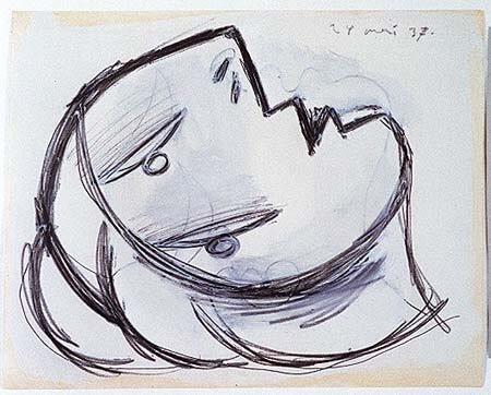 33. Cabeza. 24 de mayo de 1937. 231×293 mm. Grafito y gouache sobre papel tela.