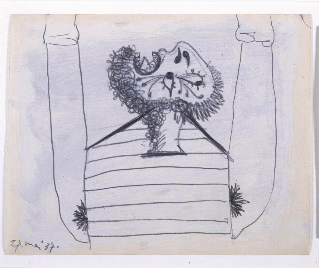 35. Hombre cayendo. 27 de mayo de 1937. 232×293 mm. Grafito y gouache sobre papel tela.