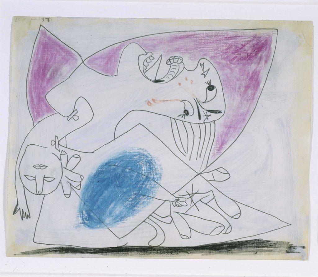 36. Madre con niño muerto. 28 de mayo de 1937. 232×293 mm. Grafito, barra de color y gouache sobre papel tela.