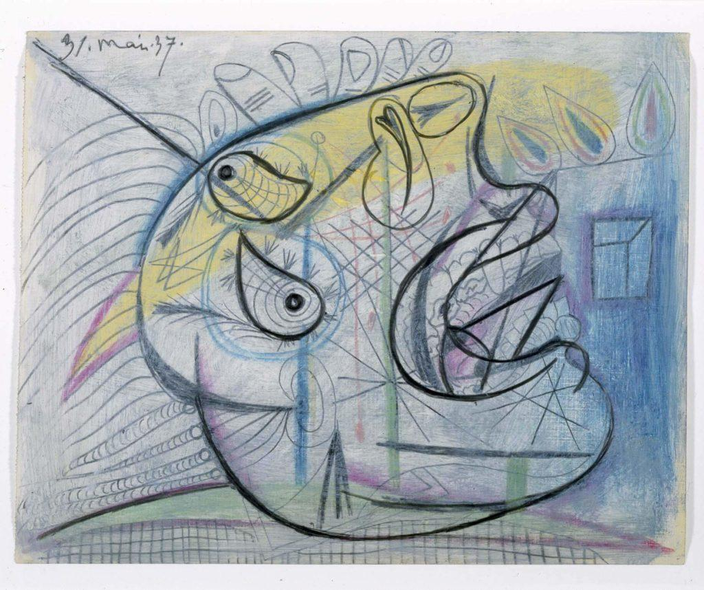 39. Cabeza llorando. 31 de mayo de 1937. 232×293 mm. Grafito, barra de color y gouache sobre papel tela.
