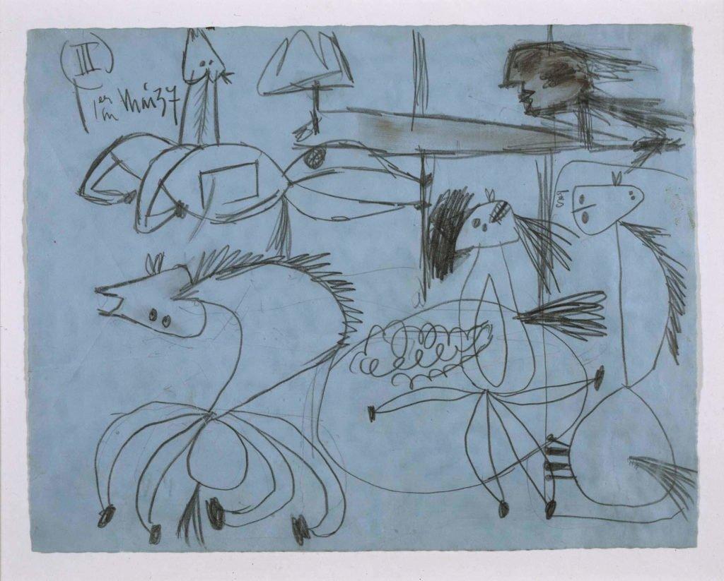 "3. Estudio para ""Guernica"". 1 de mayo de 1937. 210×268 mm. Grafito sobre papel azul."