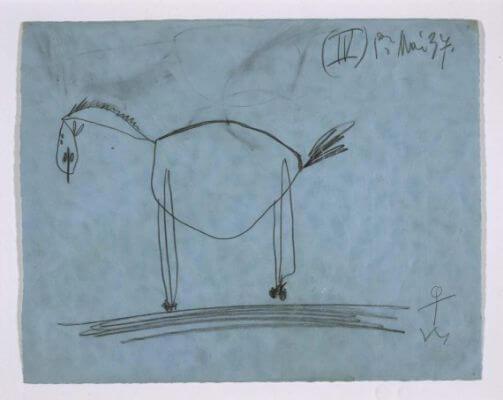 4. Estudio para el caballo. 1 de mayo de 1937. 210×269 mm. Grafito sobre papel azul.