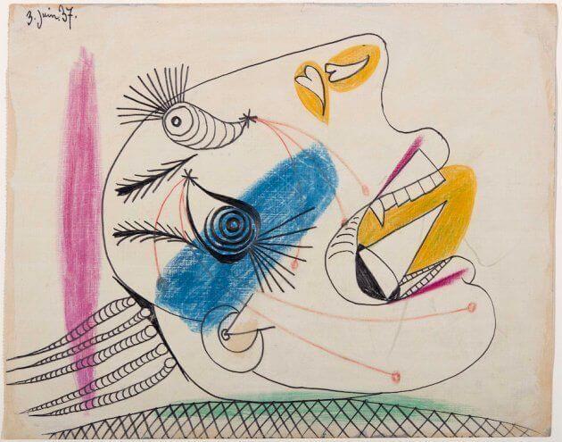 40. Estudio para una cabeza llorando. 3 de junio de 1937. 232×293 mm. Grafito, barra de color y gouache sobre papel tela.