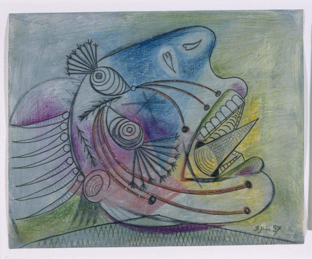 41. Estudio para una cabeza llorando. 3 de junio de 1937. 232×293 mm. Grafito, barra de color y gouache sobre papel tela.