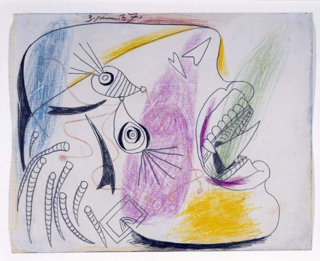 42. Estudio para una cabeza llorando. 3 de junio de 1937. 232×293 mm. Grafito, barra de color y gouache sobre papel tela.