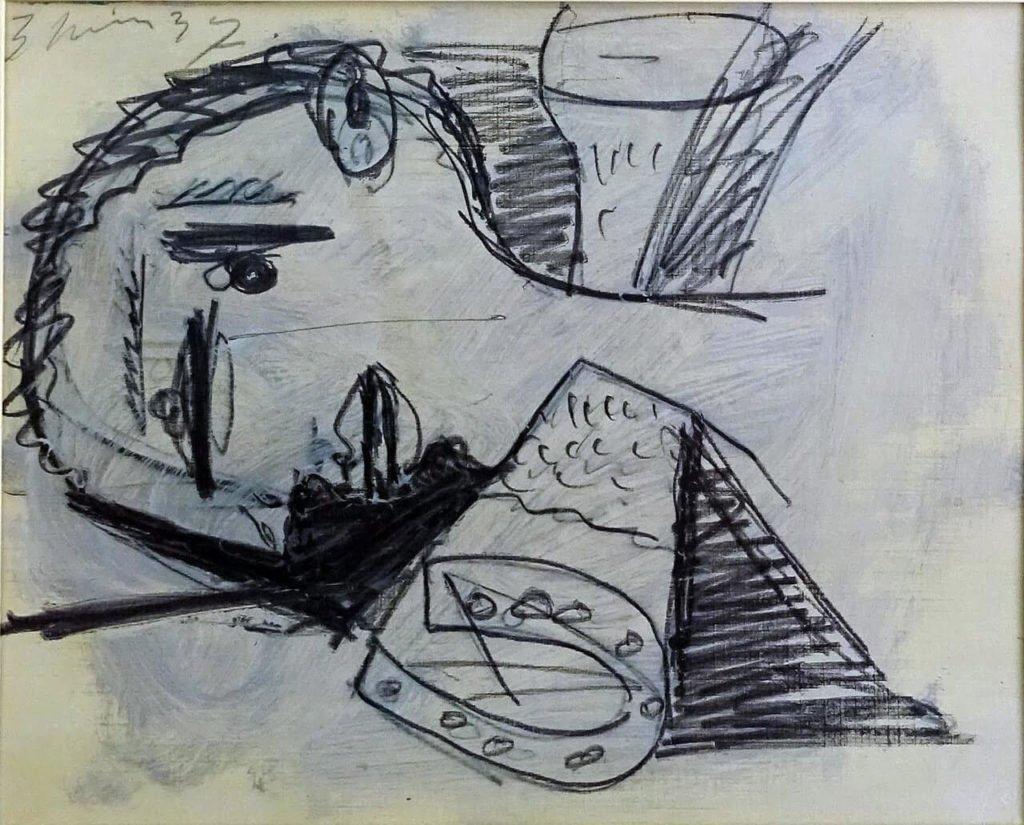 43. Cabeza del guerrero y pata de caballo. 3 de junio de 1937. 232×292 mm. Grafito y gouache sobre papel tela.