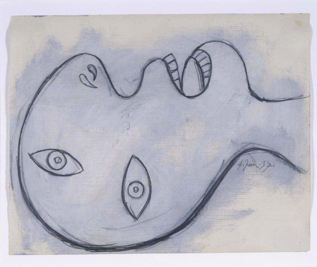 44. Estudio para cabeza de hombre. 4 de junio de 1937. 23,2 x 29,2 cm. Grafito y gouache sobre papel tela.