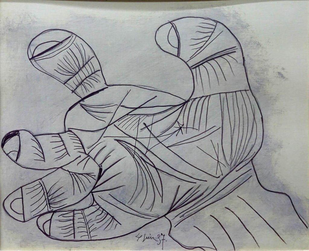 45. Estudio para Mano. 4 de junio de 1937. 232×292 mm. Grafito y gouache sobre papel.