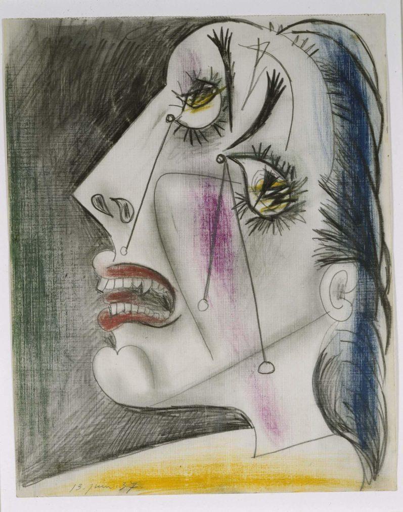 48. Cabeza llorando. 13 de junio de 1937. 291×231 mm. Grafito, barra de color y gouache sobre papel tela.
