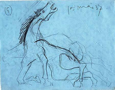 5. Estudio para el caballo. 1 de mayo de 1937. 210×268 mm. Grafito sobre papel azul.