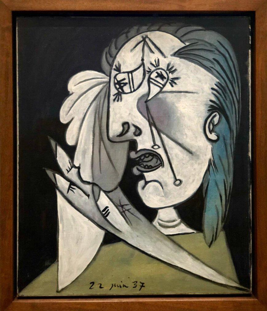 50. Cabeza de mujer llorando con pañuelo. 22 de junio de 1937. 550×463 mm. Óleo sobre lienzo.