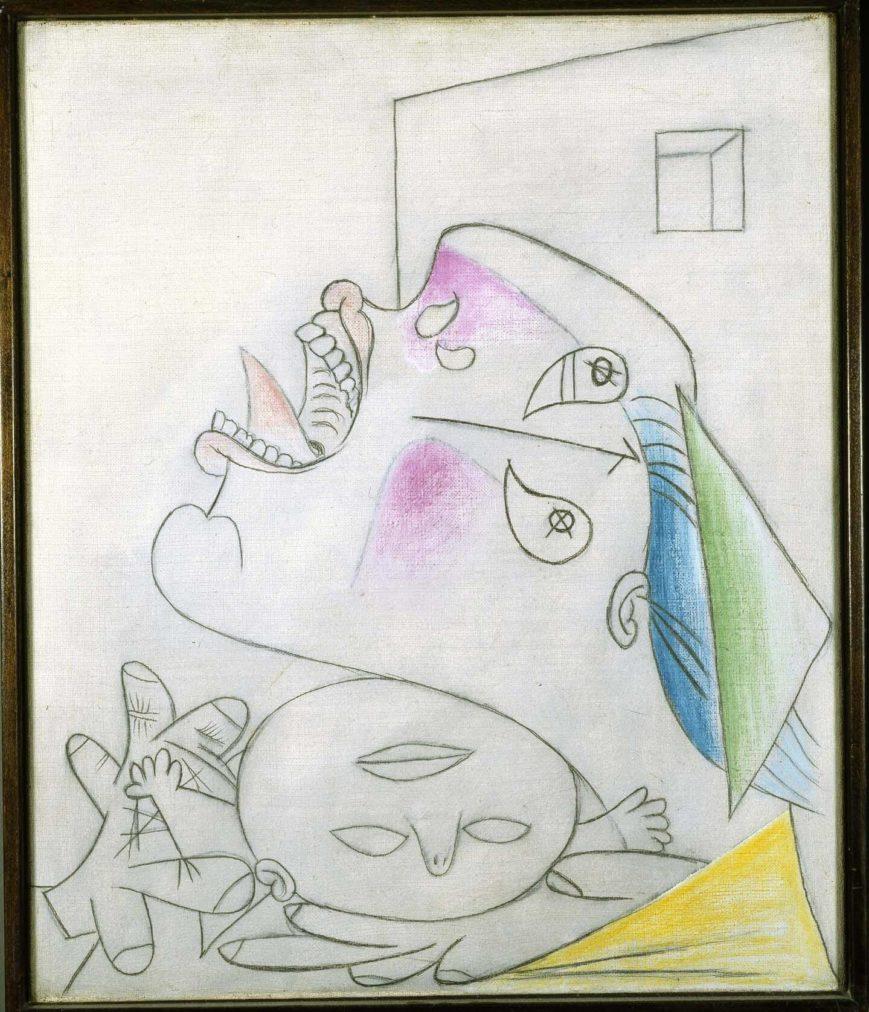 51. Madre con niño muerto.22 de junio de 1937. 550×463 mm. Grafito, barra de color y óleo sobre lienzo.