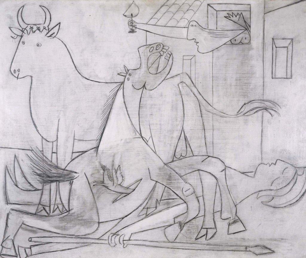 """6. Estudio para """"Guernica"""". 1 de mayo de 1937. 537×647 mm. Grafito sobre madera contrachapada, preparada con blanco de bario."""