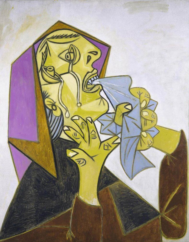 60. Cabeza de mujer llorando con pañuelo (III). 17 de octubre de 1937. 920×726 mm. Óleo sobre lienzo.