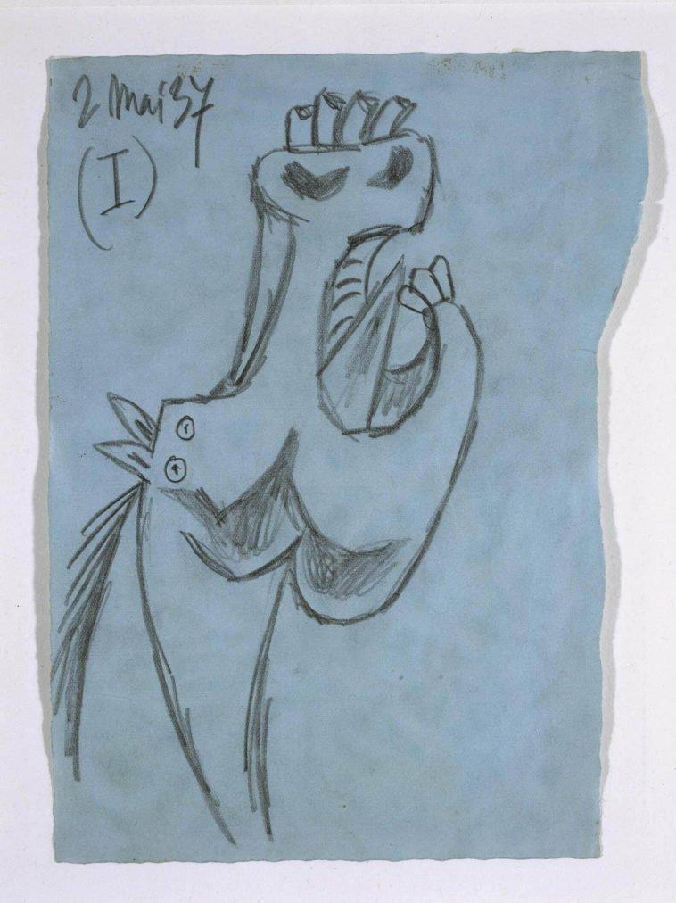 7. Estudio para la cabeza del caballo. 2 de mayo de 1937. 210×155 mm. Grafito sobre papel azul.