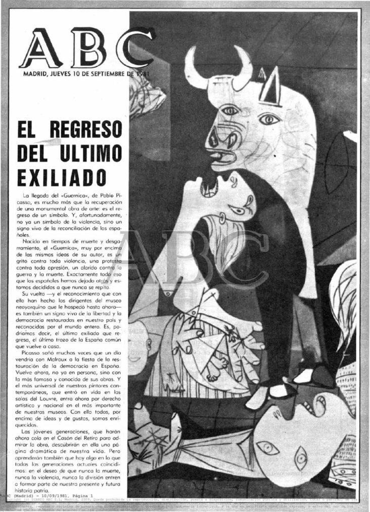 Cuadro Guernica de Picasso, Portada del periódico ABC, del jueves 10 de septiembre de 1981, en el que se da noticia de la llegada del Guernica a España.