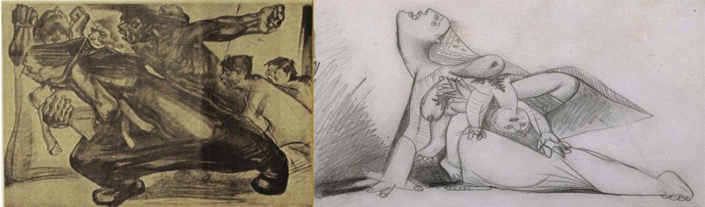 Ilustración de Baltasar Lobo para la revista anarquista Mujeres libres (1937), y detalle del estudio 13 de Picasso (8 mayo, 1937).