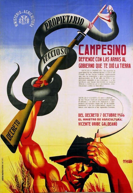 """Cuadro Guernica de Picasso, Cartel de Josep Renau. """"Campesino defiende con las armas al gobierno que te dio la tierra"""", 1936."""