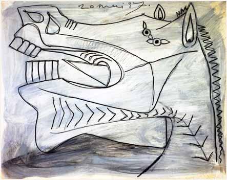 29. Cabeza del caballo. 20 de mayo de 1937. 231×291 mm. Grafito y gouache sobre papel tela.