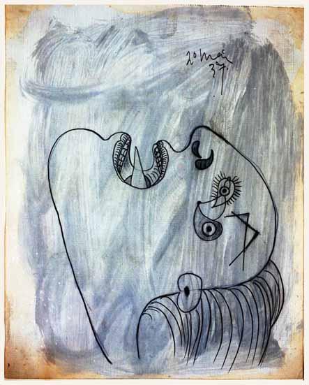 30. Cabeza de mujer. 20 de mayo de 1937. 290×232 mm. Grafito y gouache sobre papel tela.