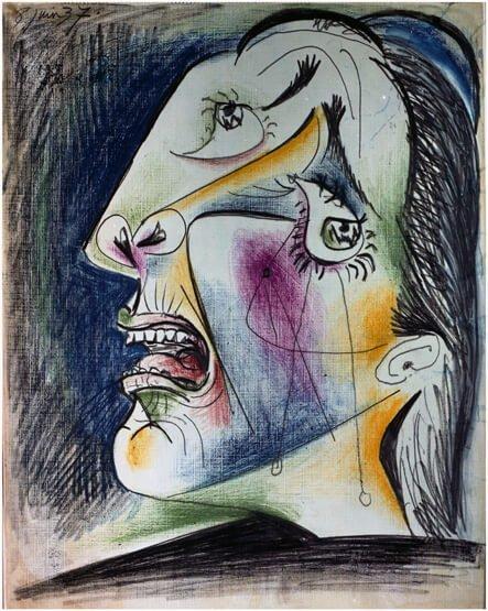 47. Cabeza llorando. 8 de junio de 1937. 291×232 mm. Grafito, barra de color y gouache sobre papel tela.