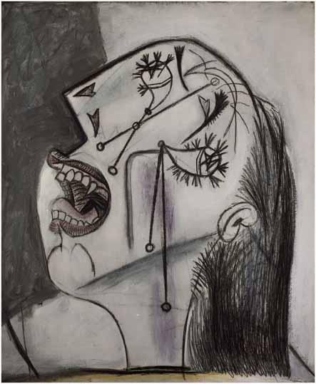 52. Mujer llorando. 15 de junio de 1937. 550×463 mm. Grafito, barra de color y óleo sobre lienzo.