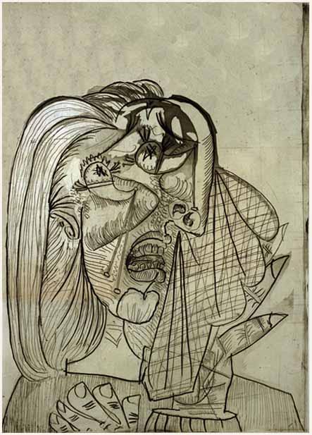 53. Mujer llorando. 2 de julio de 1937. 692×494 mm. plancha. 774×566 mm. papel. Aguafuerte y aguatinta 3er estado.