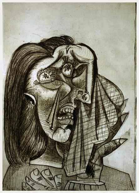 54. Mujer llorando. 2 de julio de 1937. 692×494 mm. plancha. 772×564 mm. papel. Aguafuerte y aguatinta 6º estado.