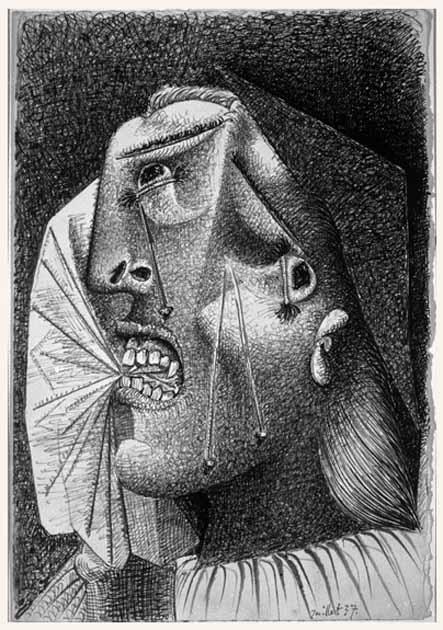 periodos de picasso,55. Cabeza llorando con pañuelo. 4 de julio de 1937. 253×171 mm. Tinta sobre papel blanco.