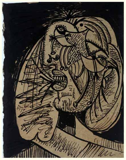 56. Cabeza llorando con pañuelo. 6 de julio de 1937. 152×115 mm. Tinta y grafito sobre papel sepia.
