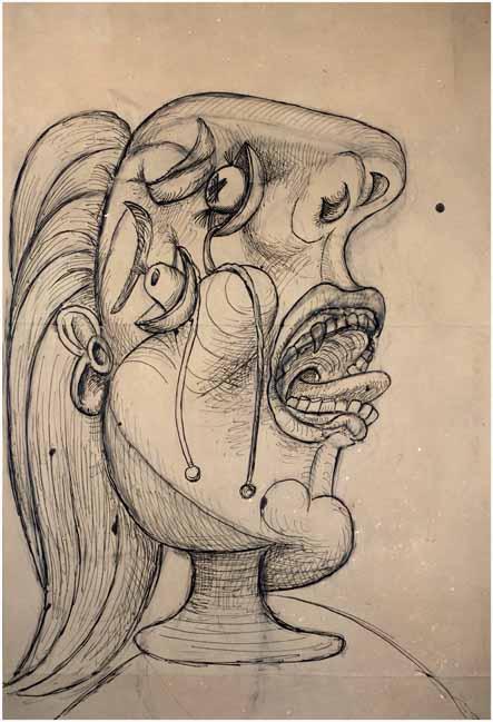 58. Cabeza llorando. 12 de octubre de 1937. 901×584 mm. Pluma, tinta y grafito sobre papel crema.