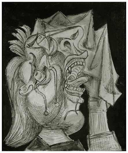 59. Cabeza de mujer llorando con pañuelo. 13 de octubre de 1937. 550×463 mm. Tinta y óleo sobre lienzo.
