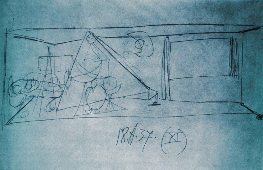 Picasso, estudio para el mural del pabellón de la Exposición Internacional de París de 1937 (18 de abril 1937).