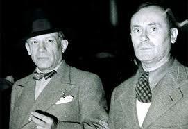 Cuadro Guernica, Picasso y Joan Miró el día de la inauguración del pabellón español el 12 de julio de 1937.