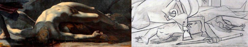 Prud'hon, detalle de La Justicia y la Venganza divina persiguen el Crimen y detalle del estudio 10 de Picasso del 2 de mayo de 1937.
